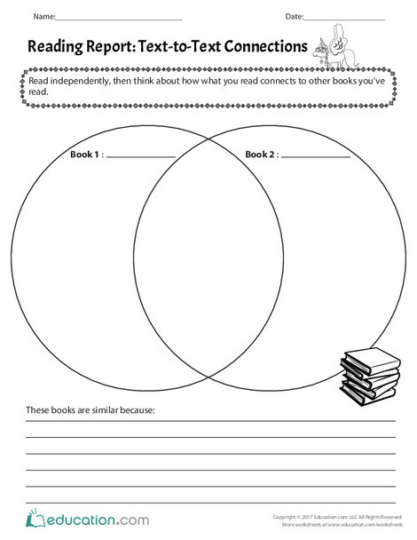 First Grade Reading & Writing Worksheets: Reading Report: Text-to-Text Connections