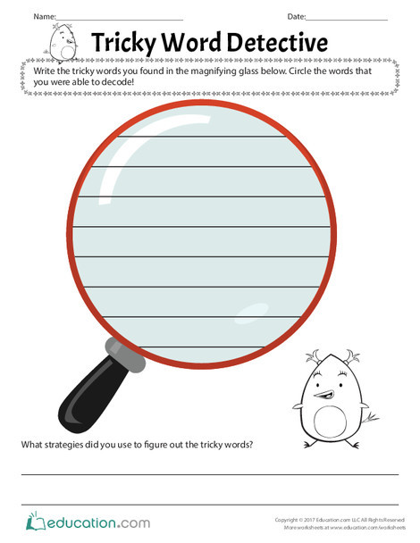 First Grade Reading & Writing Worksheets: Tricky Word Detective