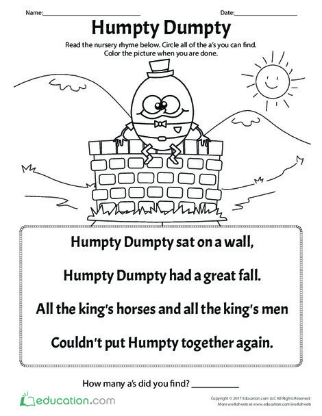 Kindergarten Reading & Writing Worksheets: Humpty Dumpty