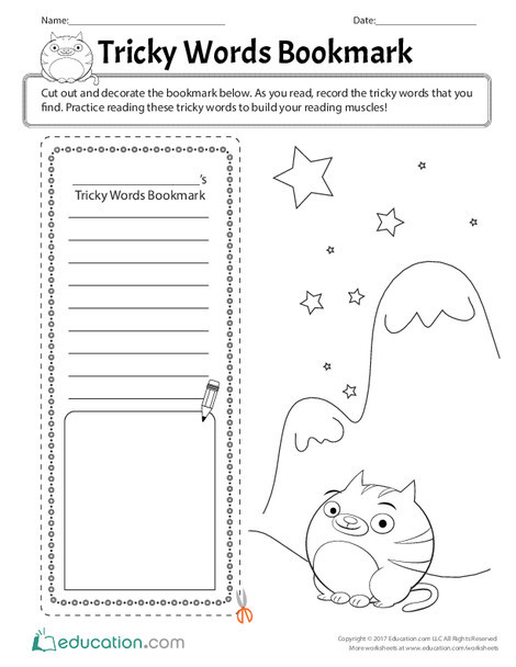 First Grade Reading & Writing Worksheets: Tricky Words Bookmark