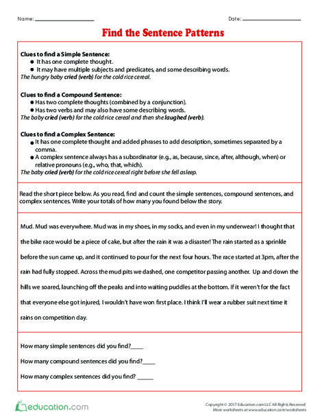 Fifth Grade Reading & Writing Worksheets: Find the Sentence Patterns