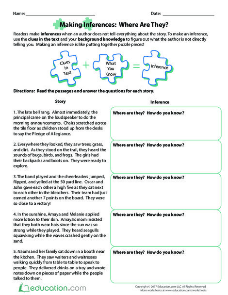 Third Grade Reading & Writing Worksheets: Making Inferences: Where Are They?