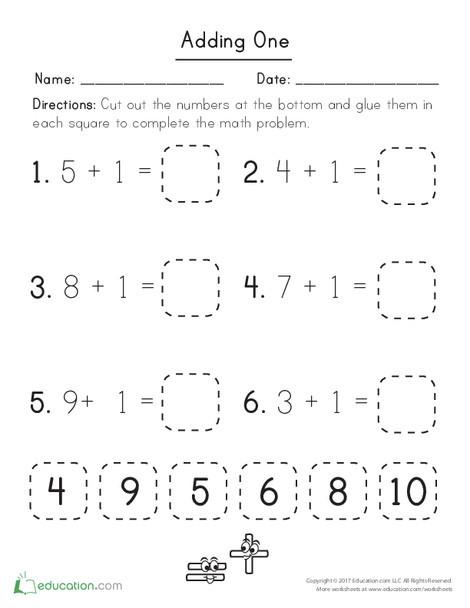 Kindergarten Math Worksheets: Adding One