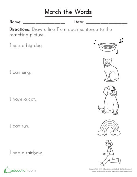 Kindergarten Reading & Writing Worksheets: Match the Words
