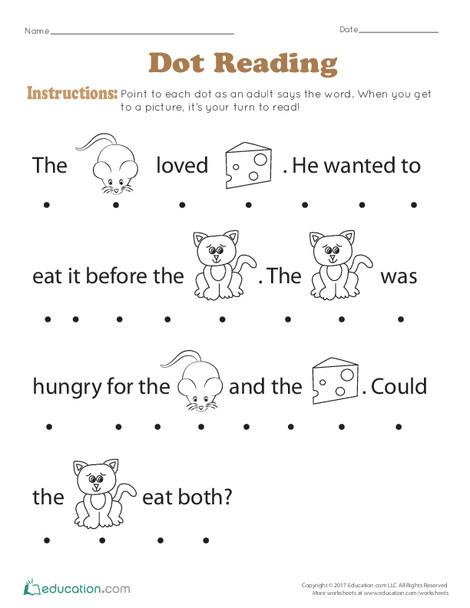 Preschool Reading & Writing Worksheets: Dot Reading