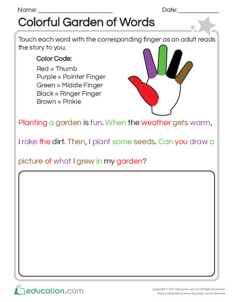 Preschool Reading & Writing Worksheets: Colorful Garden of Words