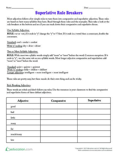 Fourth Grade Reading & Writing Worksheets: Superlative Rule Breakers