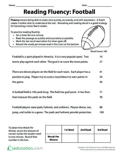 Third Grade Reading & Writing Worksheets: Reading Fluency: Football