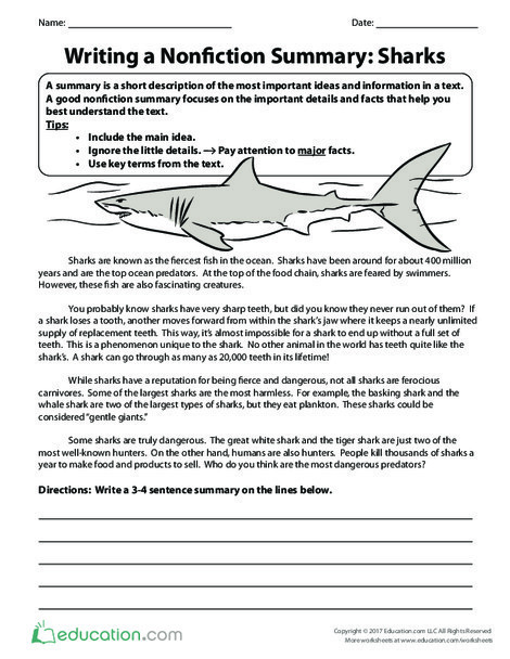 Fifth Grade Reading & Writing Worksheets: Writing a Nonfiction Summary: Sharks