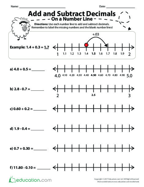 Fifth Grade Math Worksheets: Add and Subtract Decimals on a Number Line