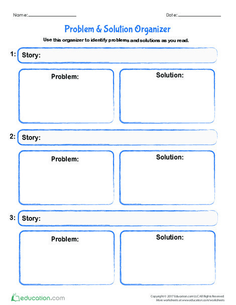 Fourth Grade Reading & Writing Worksheets: Problem & Solution Organizer