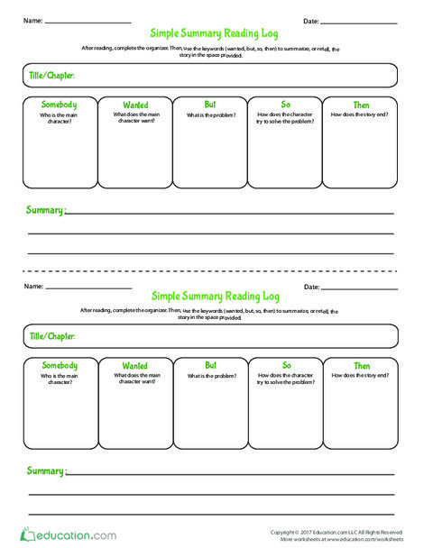 Fourth Grade Reading & Writing Worksheets: Simple Summary Reading Log