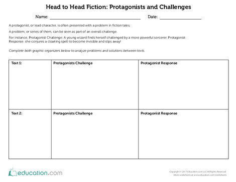 Fifth Grade Reading & Writing Worksheets: Head to Head Fiction: Protagonists and Challenges