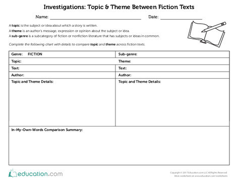 Fifth Grade Reading & Writing Worksheets: Topic & Theme Between Fiction Texts