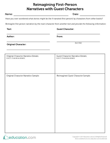 Fifth Grade Reading & Writing Worksheets: Re-imagining Narratives with Guest Characters