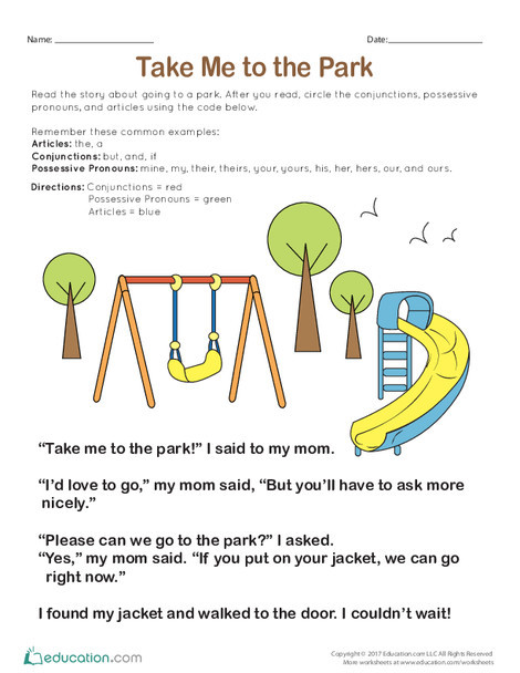 First Grade Reading & Writing Worksheets: Take Me to the Park
