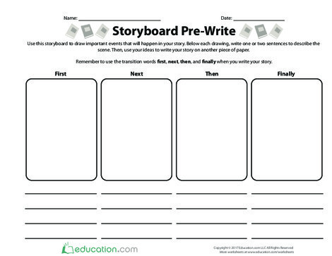 Fifth Grade Reading & Writing Worksheets: Storyboard Pre-Write