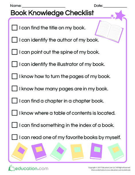 Preschool Reading & Writing Worksheets: Book Knowledge Checklist