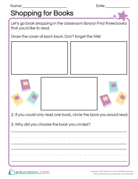 First Grade Reading & Writing Worksheets: Shopping for Books