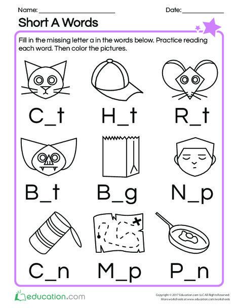 Kindergarten Reading & Writing Worksheets: Short A Words