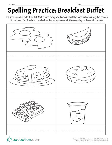 First Grade Reading & Writing Worksheets: Spelling Practice: Breakfast Buffet