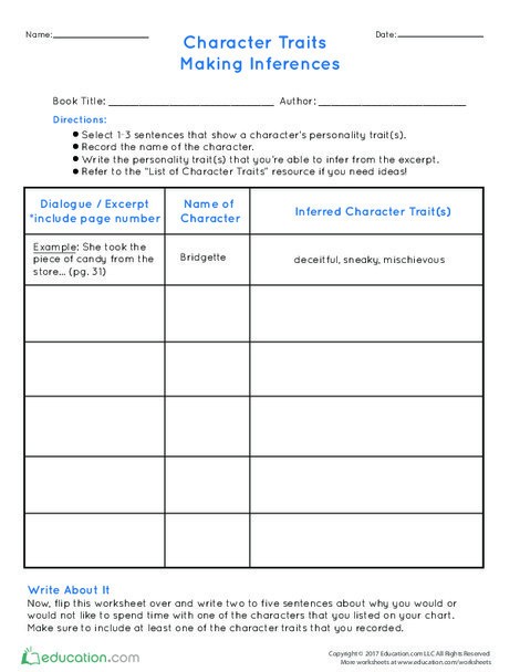 Fourth Grade Reading & Writing Worksheets: Character Traits: Making Inferences