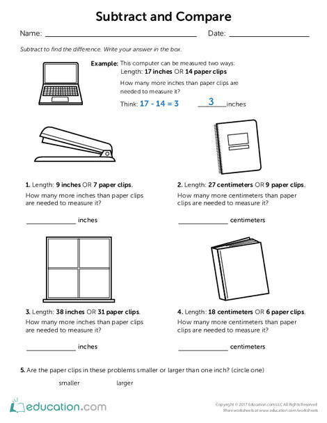 Second Grade Math Worksheets: Subtract and Compare