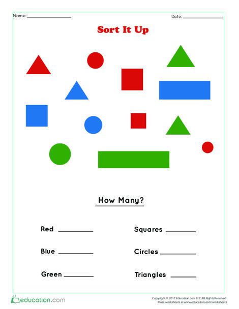 Preschool Math Worksheets: Sort It Out