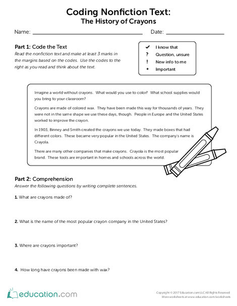 Third Grade Reading & Writing Worksheets: Coding Nonfiction Text: The History of Crayons