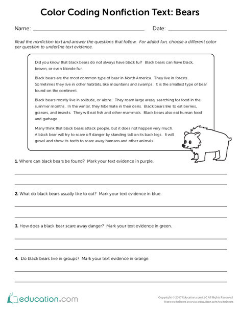 Third Grade Reading & Writing Worksheets: Color Coding Nonfiction Text: Bears