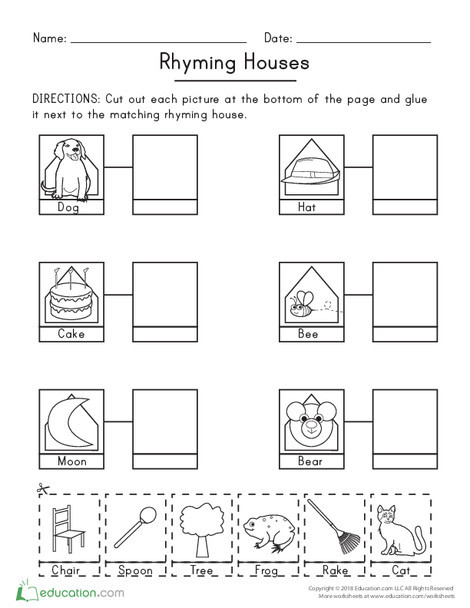 Kindergarten Reading & Writing Worksheets: Rhyming Houses