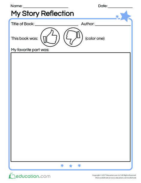 Kindergarten Reading & Writing Worksheets: My Story Reflection