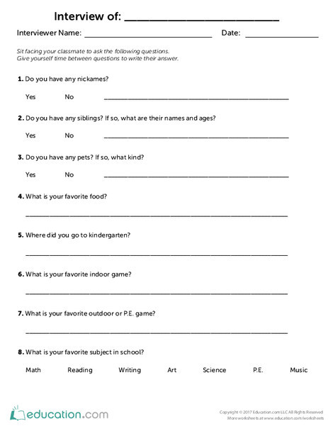 Second Grade Reading & Writing Worksheets: Classmate Interview Questionnaire