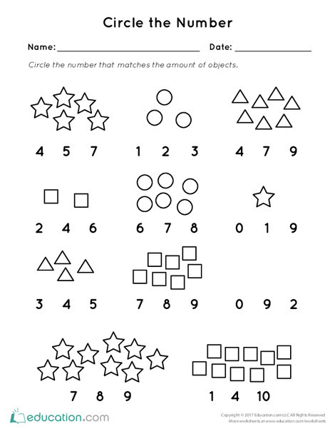 Preschool Math Worksheets: Circle the Number