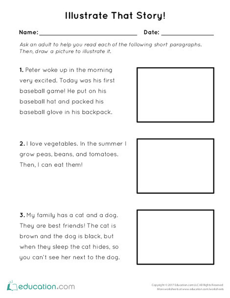 Preschool Reading & Writing Worksheets: Illustrate That Story!