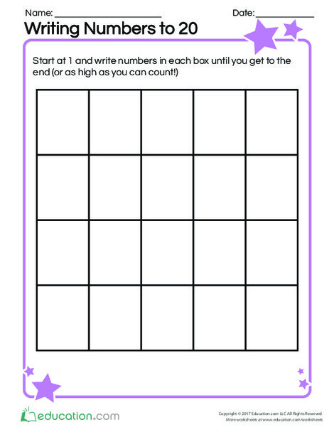 Kindergarten Math Worksheets: Writing Numbers to 20