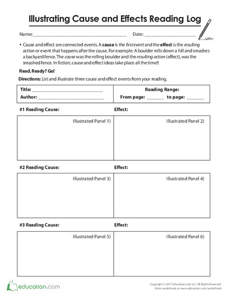 Fifth Grade Reading & Writing Worksheets: Illustrating Cause and Effects Reading Log