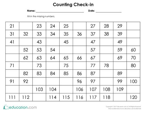 Second Grade Math Worksheets: Counting Check-in