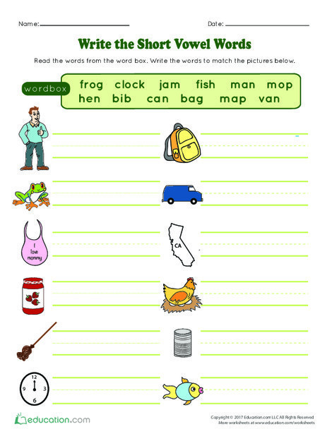 Kindergarten Reading & Writing Worksheets: Write the Short Vowel Words