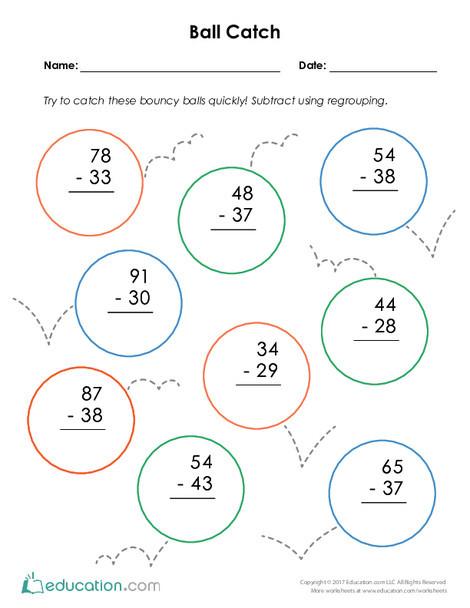 Second Grade Math Worksheets: Ball Catch