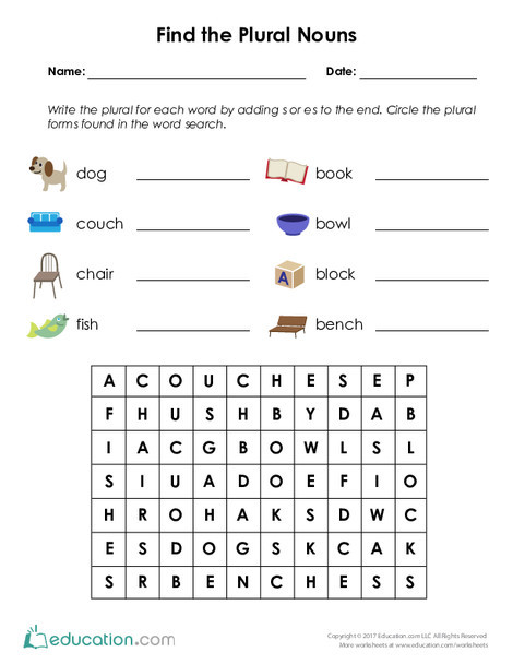 Second Grade Reading & Writing Worksheets: Find the Plural Nouns