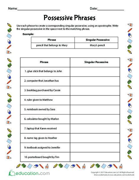 Fifth Grade Reading & Writing Worksheets: Possessive Phrases