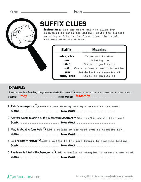 Fourth Grade Reading & Writing Worksheets: Suffix Clues