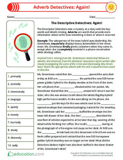 Third Grade Reading & Writing Worksheets: Adverbs Detectives: Again!