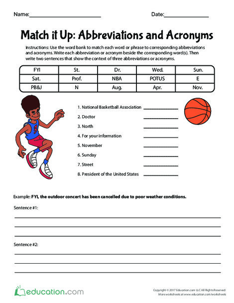 Fifth Grade Reading & Writing Worksheets: Match it Up: Abbreviations and Acronyms