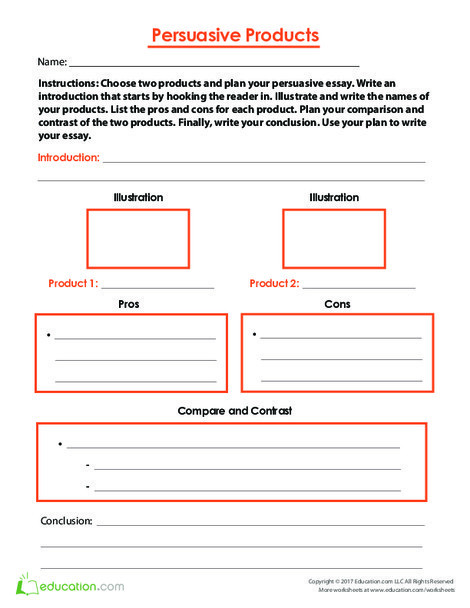 Fifth Grade Reading & Writing Worksheets: Persuasive Products