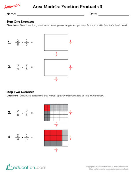 Fifth Grade Math Worksheets: Area Models: Fraction Products 3