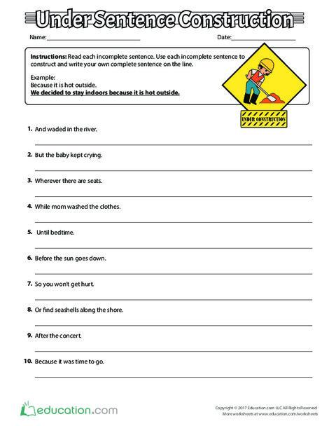 Third Grade Reading & Writing Worksheets: Under Sentence Construction