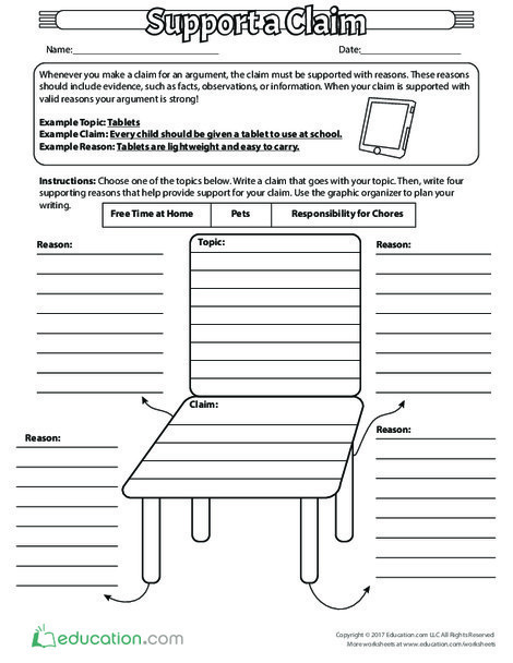 Third Grade Reading & Writing Worksheets: Support a Claim