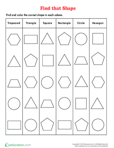First Grade Math Worksheets: Find That Shape